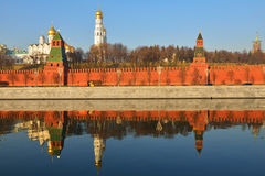 Moscow Kremlin and reflection in Moskva river Stock Photo