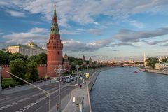 Moscow Kremlin from the Moscow river. Cloudy sky. View of the Moscow Kremlin from the Moscow river stock image