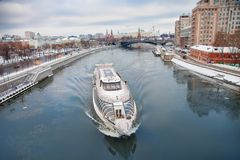 Moscow Kremlin and river day winter panorama royalty free stock photos