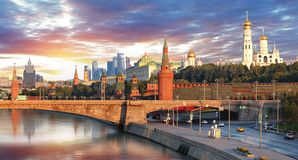 Moscow Kremlin and river in morning, Russia Stock Photos