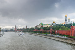 Moscow Kremlin and the river in the rain Stock Image