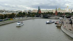 Moscow Kremlin and the river with the ship autumn stock video