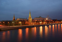 Moscow Kremlin and river under night sky Royalty Free Stock Photo