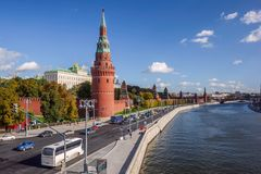 Moscow Kremlin from the Moscow river. View of the Moscow Kremlin from the Moscow river royalty free stock photography