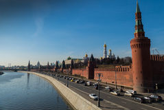 The Moscow Kremlin and the river in winter. 10 March 2016 stock photography