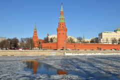 Moscow Kremlin and river in winter Stock Photo