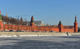 Moscow Kremlin and river in winter Royalty Free Stock Photos