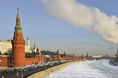 Moscow Kremlin and river in winter Royalty Free Stock Photography
