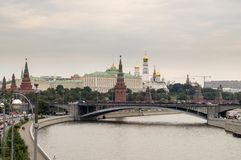 Moscow Kremlin. Russia Moscow Kremlin and river with bridge Stock Images