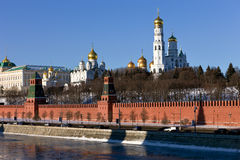 Moscow Kremlin, Russia. View from Moskvorecky brid Stock Images