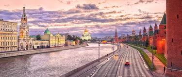 Moscow Kremlin, Russia. View of the Moscow Kremlin walls and Moskva River at evening stock images