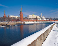 Moscow Kremlin, Russia. Winter view on Moscow Kremlin, Russian federation stock photo