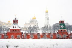 Moscow Kremlin. Russian winter. Royalty Free Stock Images