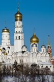 Moscow Kremlin's cathedral. View at some of Moscow Kremlin's cathedrals: Ivan the Great Bell Tower and Archangel's Cathedral. Both dated beack to beginning of Royalty Free Stock Images