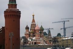 Moscow Kremlin and Saint Basils Cathedral on the Red Square in Moscow. Royalty Free Stock Photography