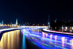 Moscow Kremlin and ships on Moskva river. Time-lapse Stock Photography