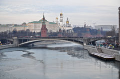 Moscow Kremlin from the side of Patriarchal bridge. Stock Image