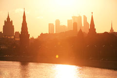 Moscow Kremlin silhouette Arkivbilder