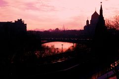 Moscow Kremlin silhouette. Color photo. Stock Images