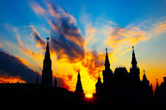 Moscow Kremlin silhouette at sunset Royalty Free Stock Photos