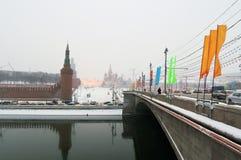 Moscow Kremlin at snowstorm. royalty free stock image