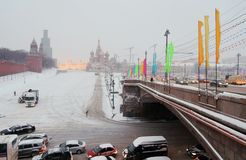 Moscow Kremlin at snowstorm. Stock Images