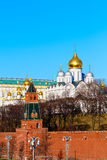 Moscow Kremlin southern wall with Cathedral of the Annunciation and Cathedral of the Archangel Stock Images