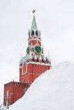 Moscow Kremlin. Spasskaya clock tower in winter. Stock Photography