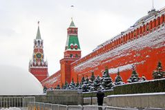 Moscow Kremlin. Spasskaya Clock Tower. Winter view. Royalty Free Stock Photography