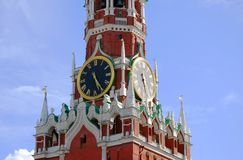 Moscow Kremlin. Spasskaya Tower, clock. Stock Photos