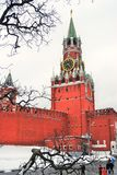 Moscow Kremlin. Spasskaya Tower, clock. Stock Photos