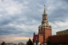 Moscow Kremlin. Spasskaya Tower, clock. Red Square. UNESCO World Royalty Free Stock Image