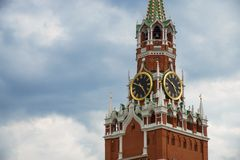 Moscow Kremlin. Spasskaya Tower, clock. Red Square. UNESCO World Stock Images