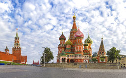Moscow Kremlin, Spasskaya Tower  and St. Basil Cathedral. Red Square Stock Photo