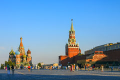 Moscow Kremlin and St. Basil Cathedral. On Red Square, Russia royalty free stock image