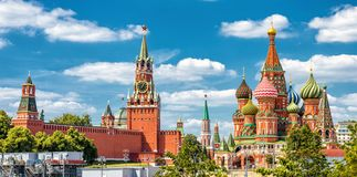 Moscow Kremlin and St Basil`s Cathedral on the Red Square in Mos. Cow, Russia. It is the main tourist attraction of Moscow. Beautiful panoramic view of the royalty free stock images
