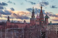 Moscow Kremlin and St Basil`s Cathedral sunset view stock photo