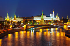 Moscow Kremlin in summer night Royalty Free Stock Photo