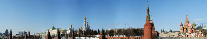 Moscow Kremlin on a sunny winter day (panorama), Russia Stock Photos