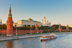 Moscow kremlin at sunset. Russian royalty free stock image