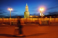 Moscow Kremlin at sunset and the Moscow river embankment. Stock Images