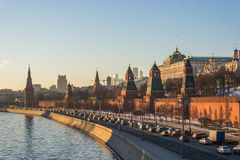 Moscow kremlin at sunset. In Russia Royalty Free Stock Photos