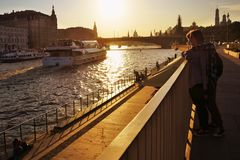 Moscow Kremlin at sunset seen from Zaryadye park Royalty Free Stock Images