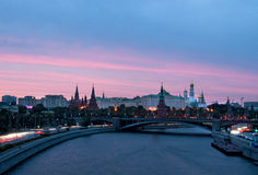Moscow Kremlin sunset. A view on the Moscow Kremlin during sunset Royalty Free Stock Image