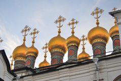 Moscow Kremlin. Terem churches. Blue sky background. Royalty Free Stock Images