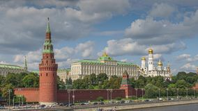 Moscow Kremlin timelapse in 4k. Moscow Kremlin with the river and boats timelapse in 4k stock video footage
