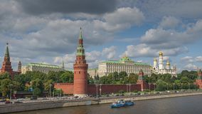 Moscow Kremlin timelapse in 4k. Moscow Kremlin with the river and boats timelapse in 4k stock footage
