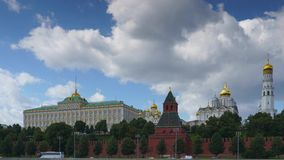 Moscow Kremlin timelapse in 4k. Moscow Kremlin with the river and boats timelapse in 4k stock video