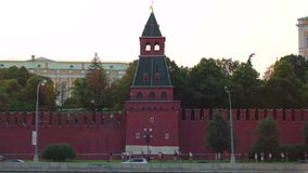Moscow Kremlin towels at evening stock footage