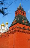 Moscow Kremlin tower and Archangel's church. Tree trunks. Moscow Kremlin tower and Archangel's church. No people. Blue sky background. Tree trunks. Moscow stock photography
